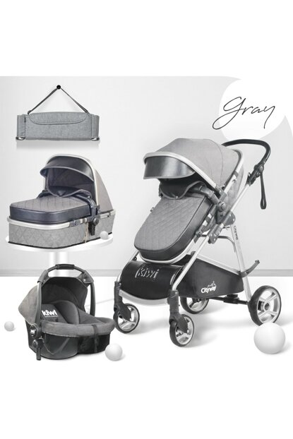 Kiwi City Way 5 in 1 Baby Stroller, Carry Seat, Care Bag, Raincoat - Gray KW-CTY-WY-5-N-1-GR