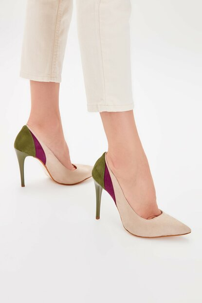 Beige Suede Women Heels Shoes TAKAW20TO0007