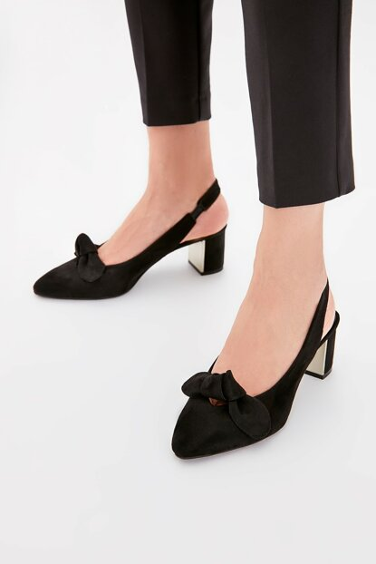 Black Suede Women Heels Shoes TAKAW20TO0046