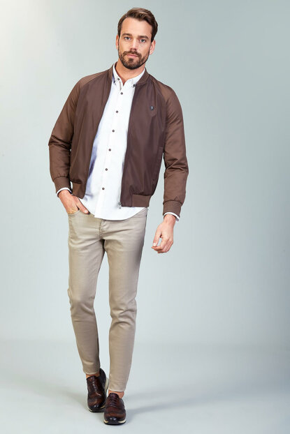 Men's Bomber Thin Coat Brown-A82Y6005-07