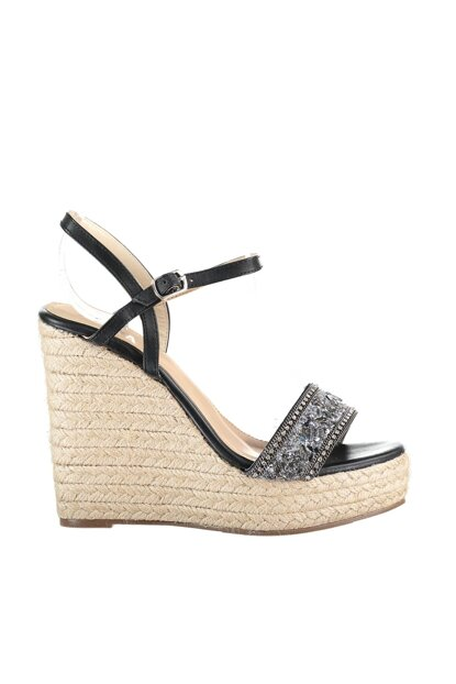 Black Women Wedge Heeled Shoes 01SAY106340A100