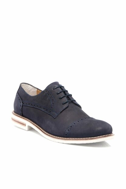 Genuine Leather Navy Blue Nubuck Leather Men Shoes-54201C39 E19I1AY54201