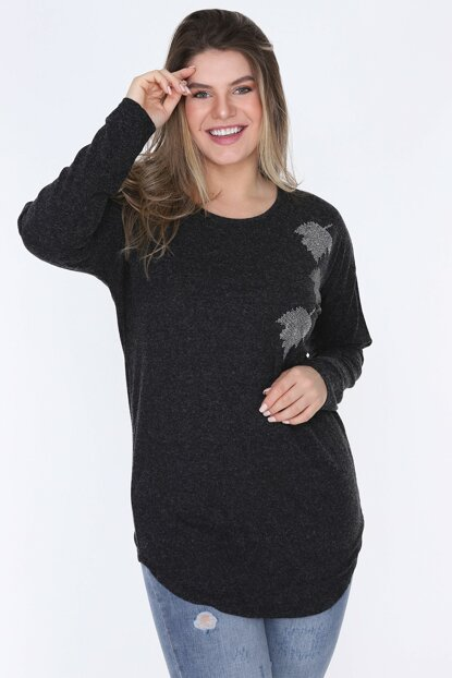 Women's Anthracite Long Sleeve Blouse DSN0573
