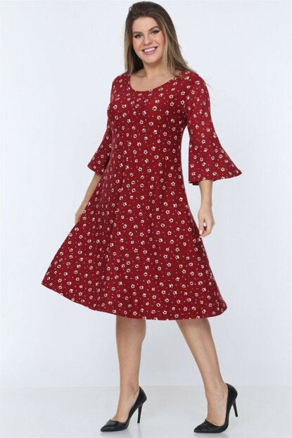 Women's Red Floral Flywheel Sleeve Suede Dress NB00032