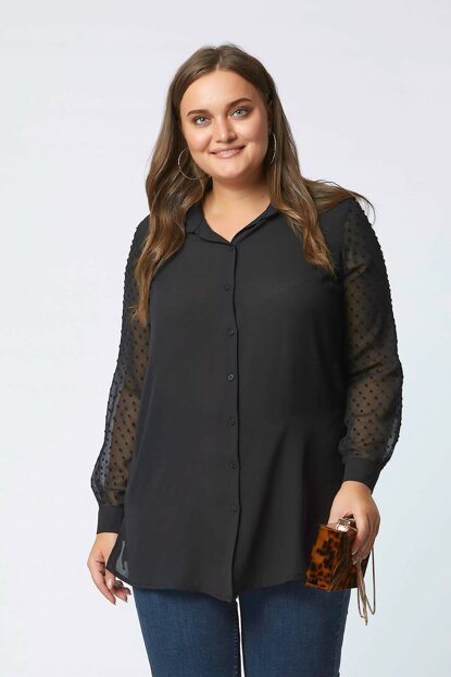 Women's Black Sleeve Tulle Chiffon Detail Shirt 101010400142