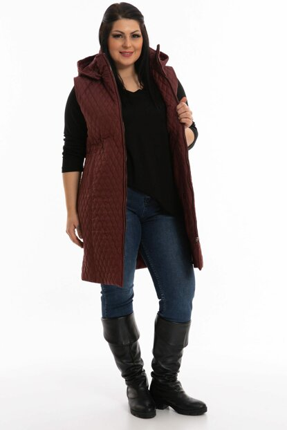 Women's Burgundy Quilted Long Vest P5245