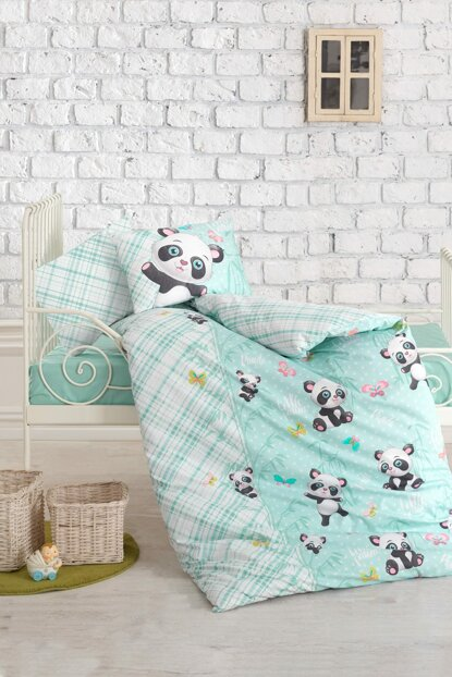 Cotton Box Baby Linen Set - Panda Mint ctn409