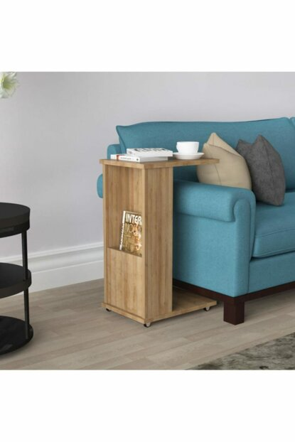 C Side Table With Newsstand Wheel Everest Oak Ard319