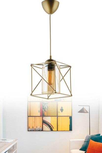 Carre Single Antique Pendant Lamp (Honey Glass) ASY223