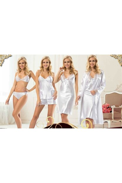 Women's White Satin 6 Pieces Dowry Set nil1520gym