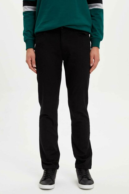 Men's Black Pedro Slim Fit Trousers L3263AZ.19AU.BK46