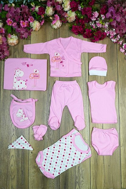 Giraffe Embroidered 10 Pieces Hospital Outlet Layette Set mc2019008