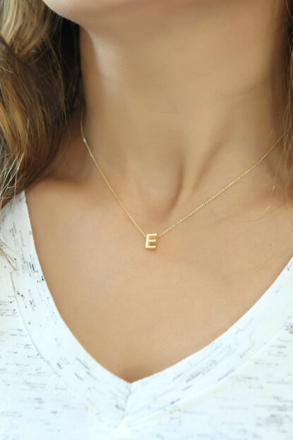 Women's 925 Sterling Silver Three-dimensional Letter Necklace Omr1309 OMR1309
