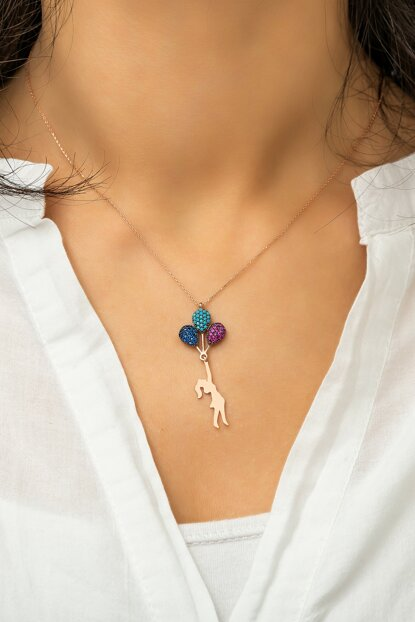 Rose Gold Plated 925 Sterling Silver Necklace Girl with Colorful Nano Cubic Zirconia UVPS100063
