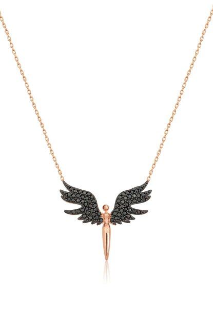 Angel Rose Gold Plated Black Nano Zircon 925 Sterling Silver Necklace UVPS100059