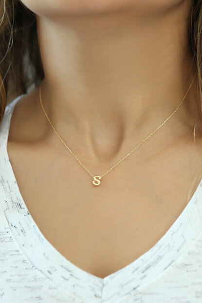 Women's 925 Sterling Silver Three-dimensional Letter Necklace Omr1322 OMR1322