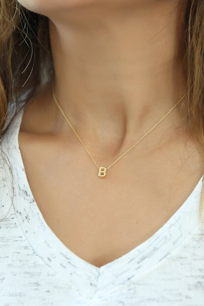 Women's 925 Sterling Silver Three-dimensional Letter Necklace Omr1305 OMR1305