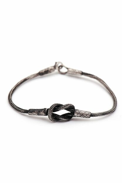 Casual Hand Wrapped Oxidized Silver Bracelet 198 314457