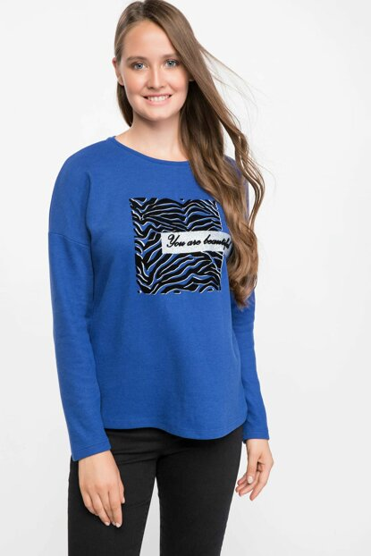 Women's Blue Long Sleeve Printed T-shirt J2455AZ.18AU.BE181