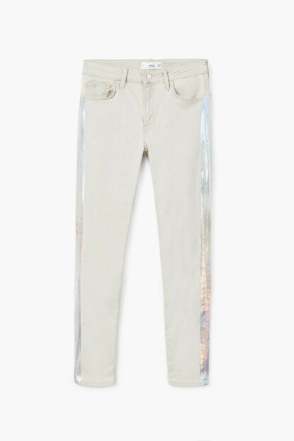 Women's Light Gray Denim Metallic Trimmed Jean Pants 13075737