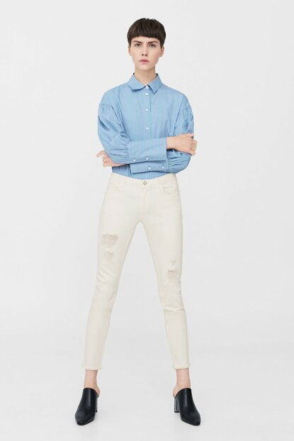 Women's Off White Ripped Detailed Slim Fit Jean Pants 13000335