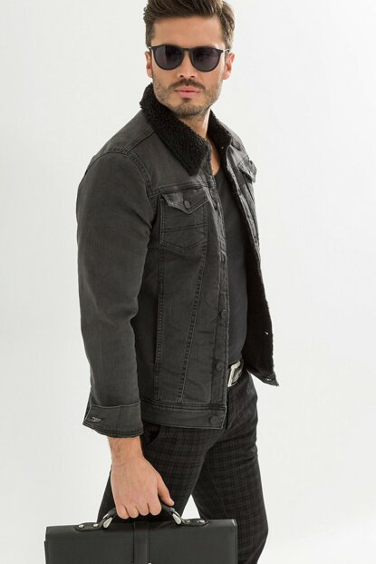Black Fur Anthracite Men's Denim Jacket dk4404ltc