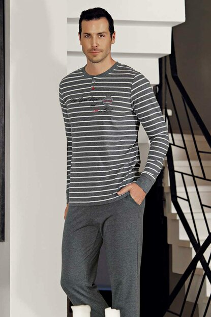 Men's Gray Striped Pajamas Set MEP23804-1 TMEP23804