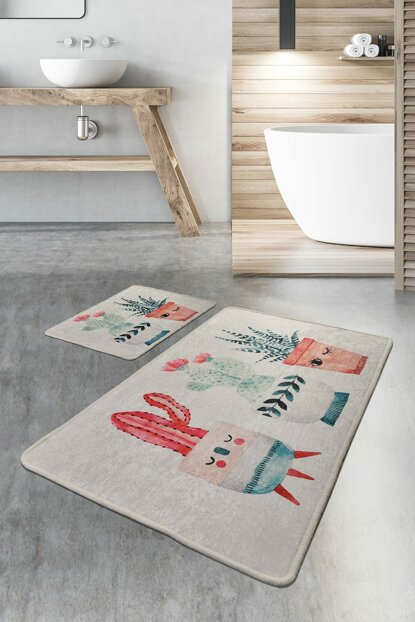 60x100 - 50x60 Happy Cactus Digital Set of 2 Bath Rugs, Doormats 8682125929019