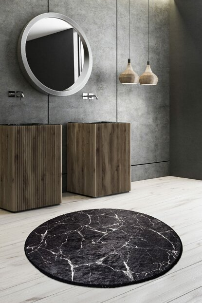 Diameter 140 Marble Digital Bath Mat, Doormat 8682125928326