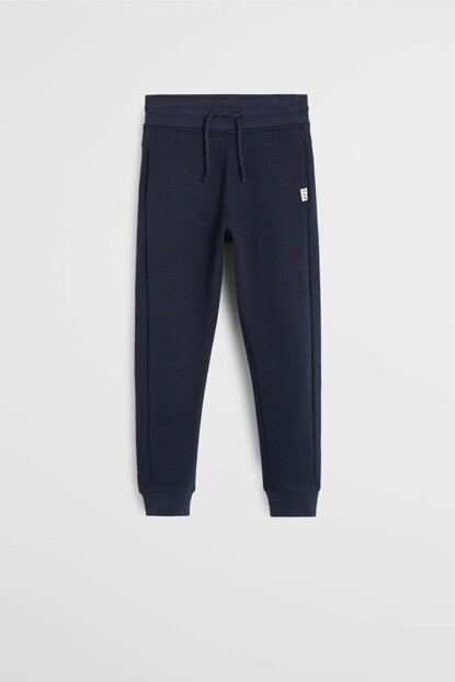 Navy Blue Boy Jogger Style Cotton Trousers 53033773
