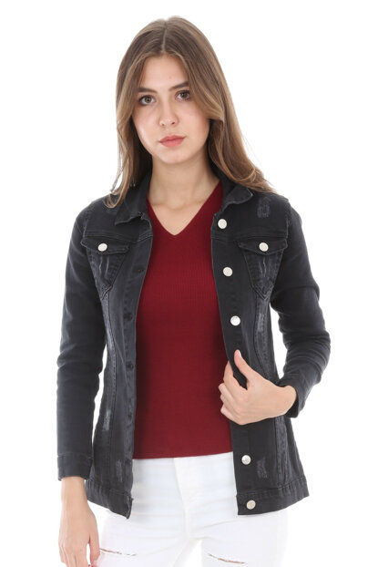 Women's Black Ripped Denim Jacket 0616BGD19_001