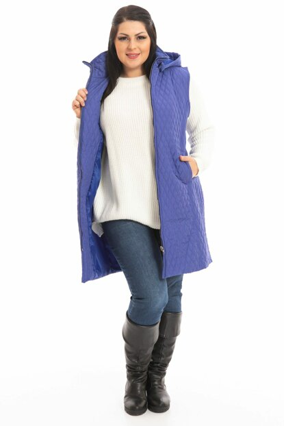 Women Saks Quilted Long Vest P5245
