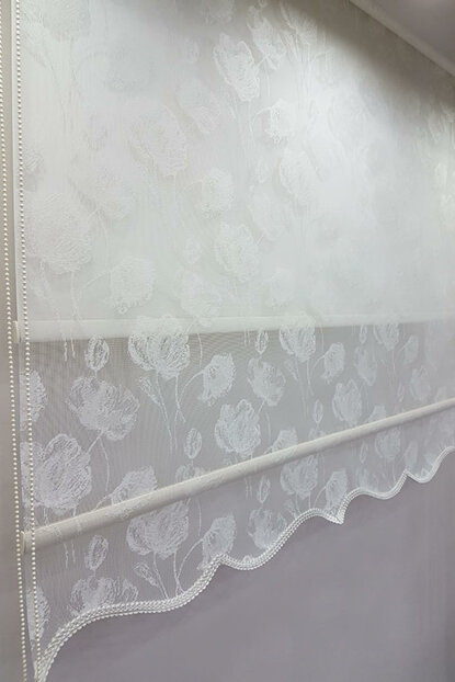 140X200 Double Mechanism Tulle Curtain and Roller Blinds MT1093 8605480887666
