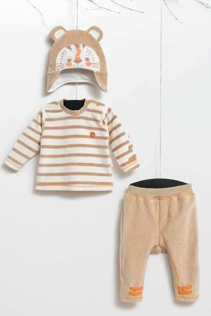 Wogi Baby Boy Sweatshirt Pants Hat 3-Piece Suit Velvet 3-18 Months 5411 WG5411