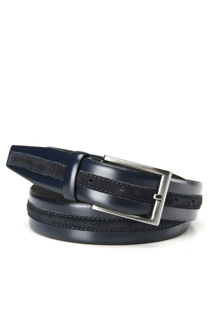 Genuine Leather Navy Blue Men Belt 06KEH140910A680