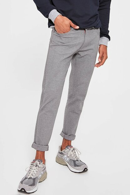 Gray Men's 5 Pockets Knitted Trousers TMNAW20PL0338