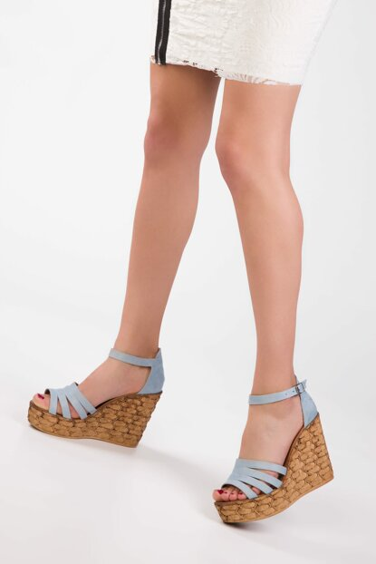 Blue Suede Women's Wedge Heeled Shoes 13050