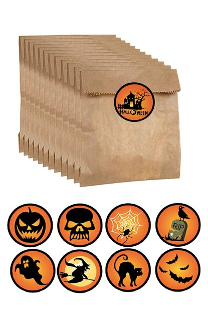 Halloween Large Candy Pouch-Sticker Candy Bag Set 22 Pieces AY-SET-0624