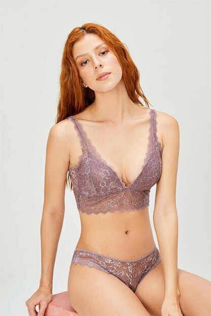 Women's Mink Ruched Unfilled Braset Bra Set 301 Mink 3510
