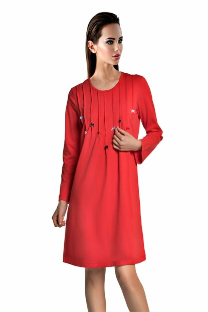 Women's Red Long Sleeve Combed Nightgown 002-000326
