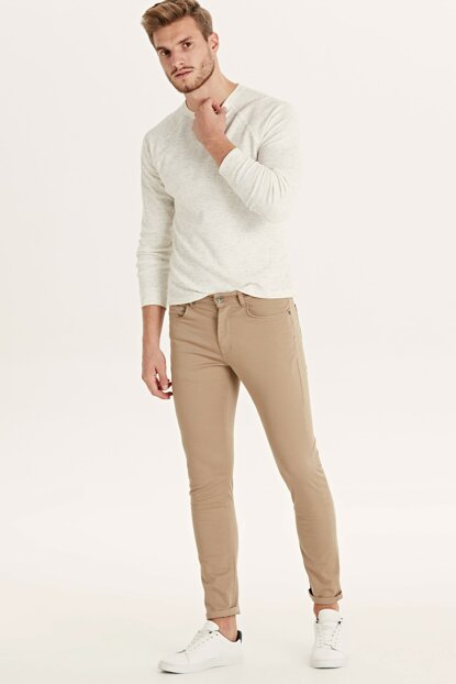 Men's Beige Trousers 9SA337Z8