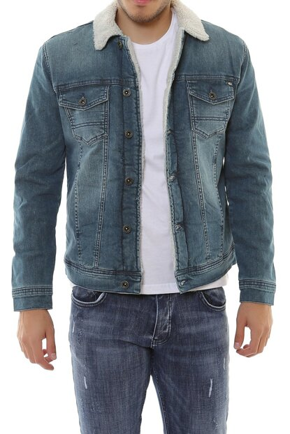 White Fur Green Rodeo Mens Denim Jacket dk4404ltc