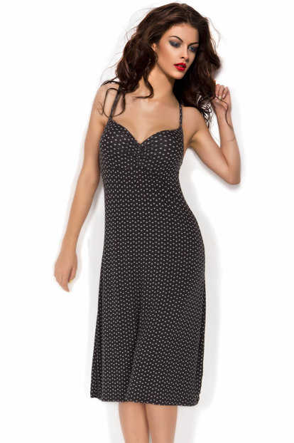 Gray Polka Dot Combed Nightgown 001-018731