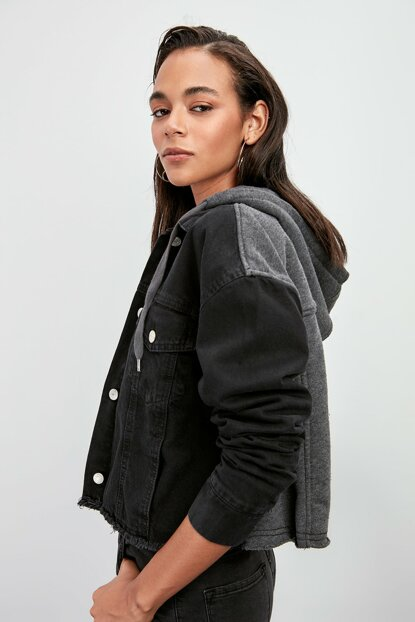 Anthracite Hooded Denim Jacket TWOAW20CE0181