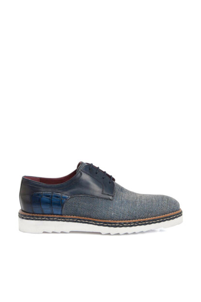 Navy Blue-Linen Men's Classic Shoes E19I1AY54179