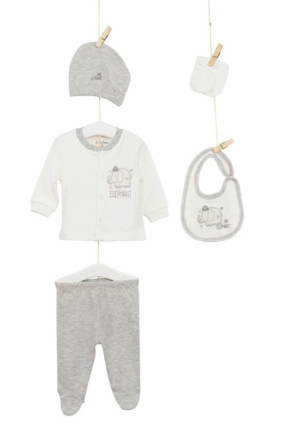 Ecru Gray Baby Boy Hospital Outlet 5'Li Layette Set AZZ005225