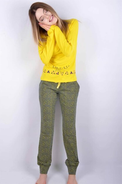 Women's Yellow Pemilo da Aydoğan Patterned Trotter Ribbed Pajama Set PE-1957