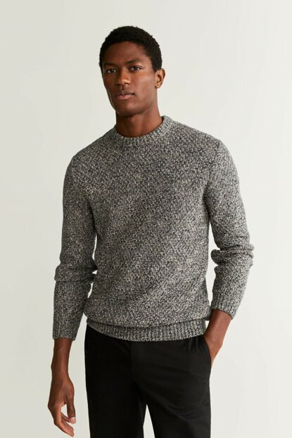 Men's Mid Flecked Gray Perforated Cotton Pullover 53025723