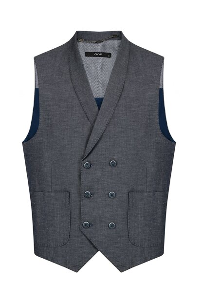 Shawl Neck Straight Vest - A91Y6503