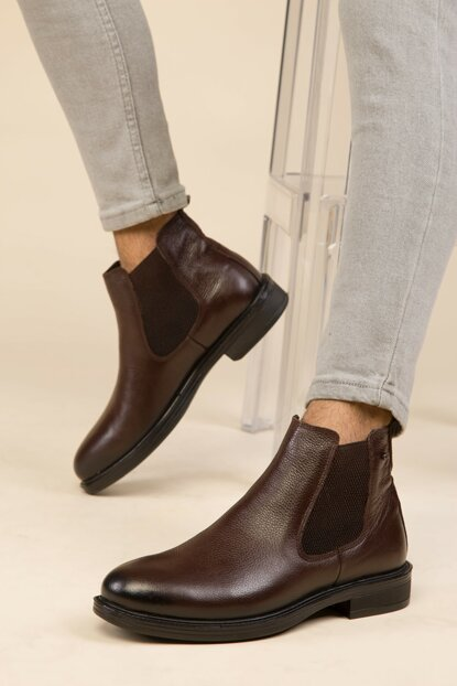 Coffee Mat Men Boots 2880 Genuine Leather